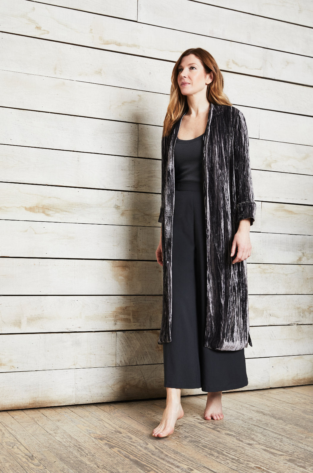 Luxury loungewear - CRUSHED VELVET SILK LINED DUSTER