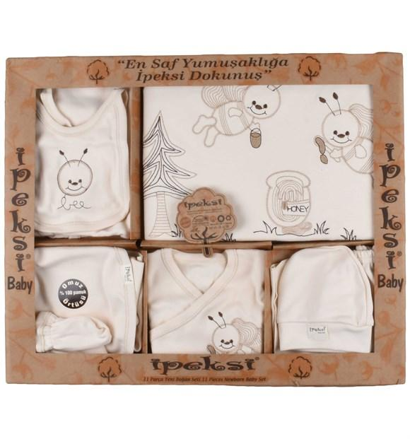 Ipeksi Organic Bee Print 11 Piece Set for Newborn Girls & Newborn Boys