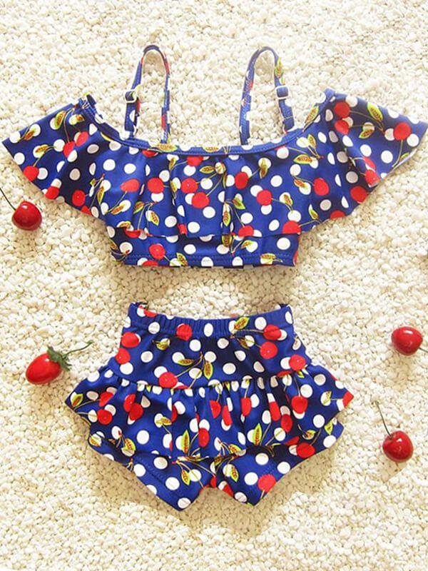 Cherry Pattern Printed Swimwear Set for Baby Girls