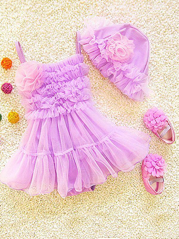 Tutu Style Mesh Jumpsuit Swimwear for Baby Girls