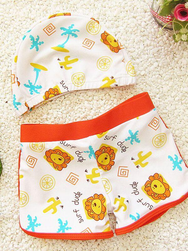 Cartoon Pattern Printed Elastic Cap Swimwear Set for Toddler Boys