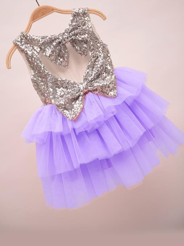 Sequins Ruffled Layered Tulle Tutu Flip Dress for Baby Girls