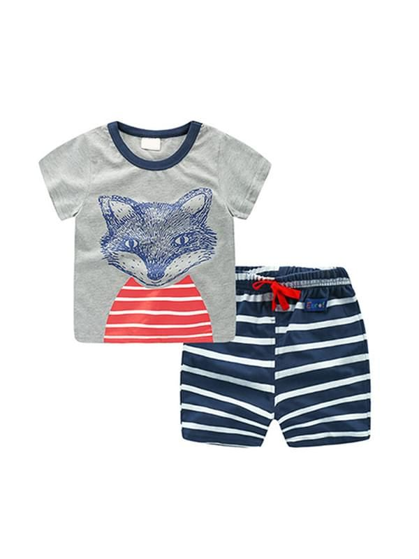 2 Piece Outfit Set Cotton Cartoon Tee Striped Shorts for Boys