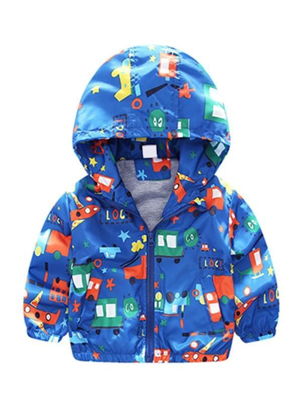 Cartoon Vehicle Printed Hooded Cotton Lining Jacket Coat Zip-up for Boys