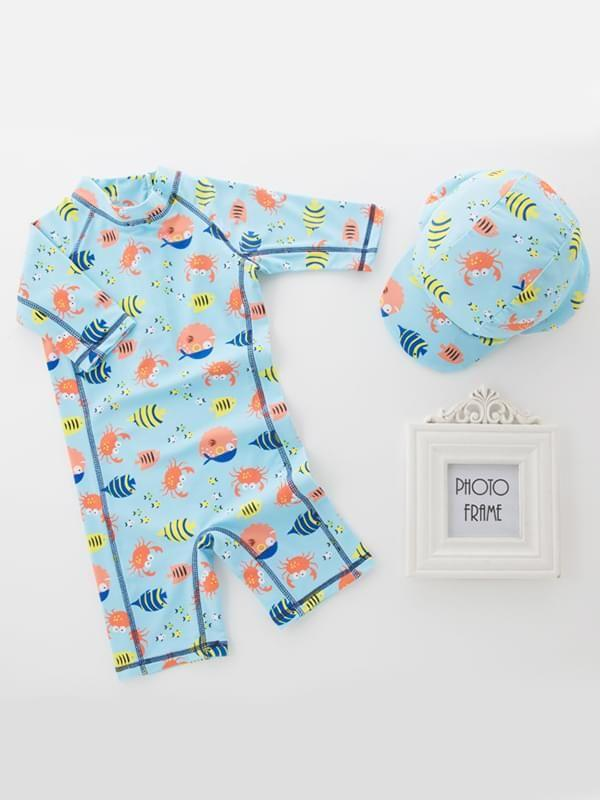 2 Piece Fish Printed Swimwear Set for Toddler Boys