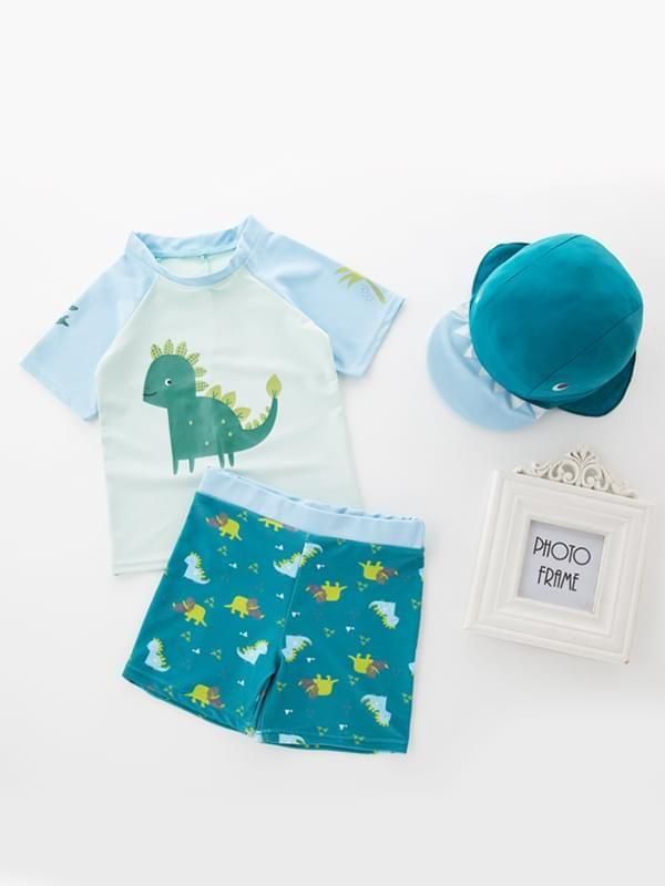 3 Piece Cartoon Dinosaur Swimwear Set for Toddler Boys