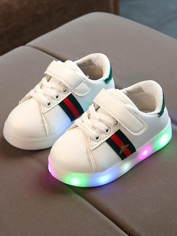 Bee Stripes Pattern Cool LED Glowing Night Lights Sneakers Shoes for Baby Girls