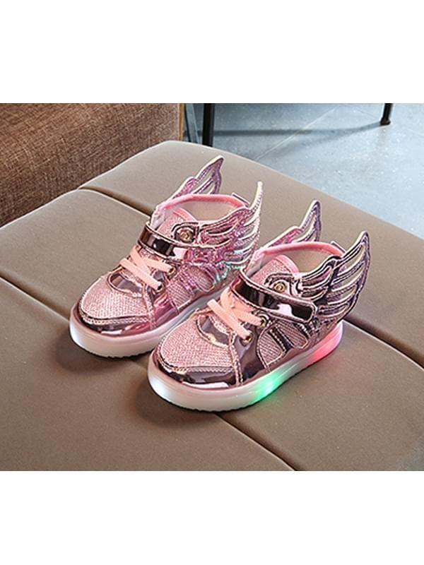 Wings Pattern Cool LED Glowing Night Lights Velcro Sneakers Shoes for Baby Girls
