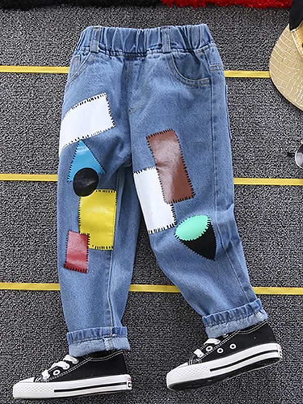 Patches Geometric Figures Jeans for Boys
