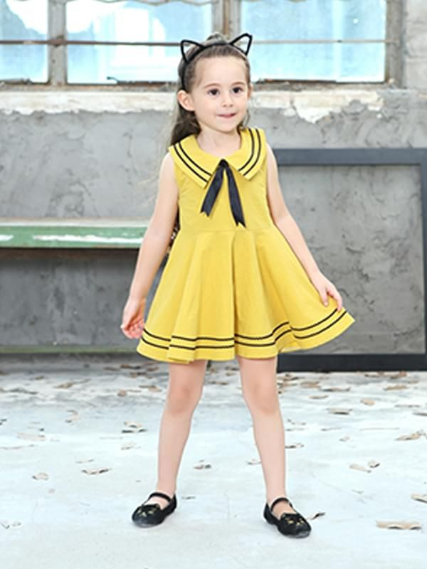 Navy Style Sleeveless Dress for Girls