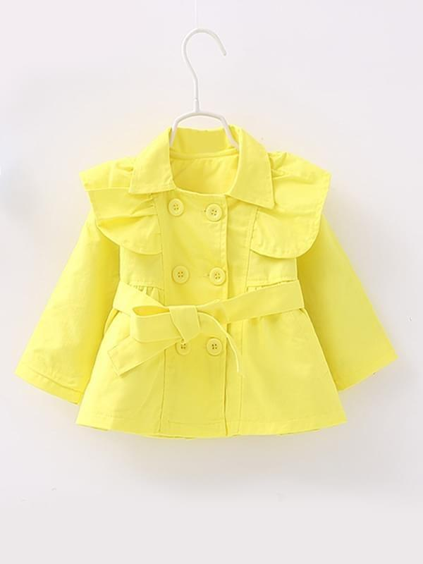 Long-sleeve Cotton Buttoned Belt Trench Coat for Toddler Girls