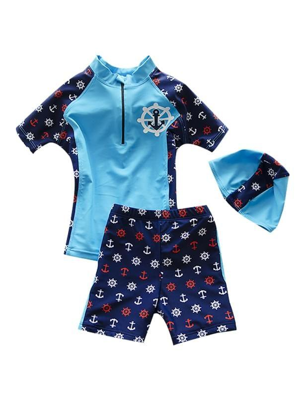 3 Piece Elastic Swimwear & Short & Hat Set for Toddler Boys