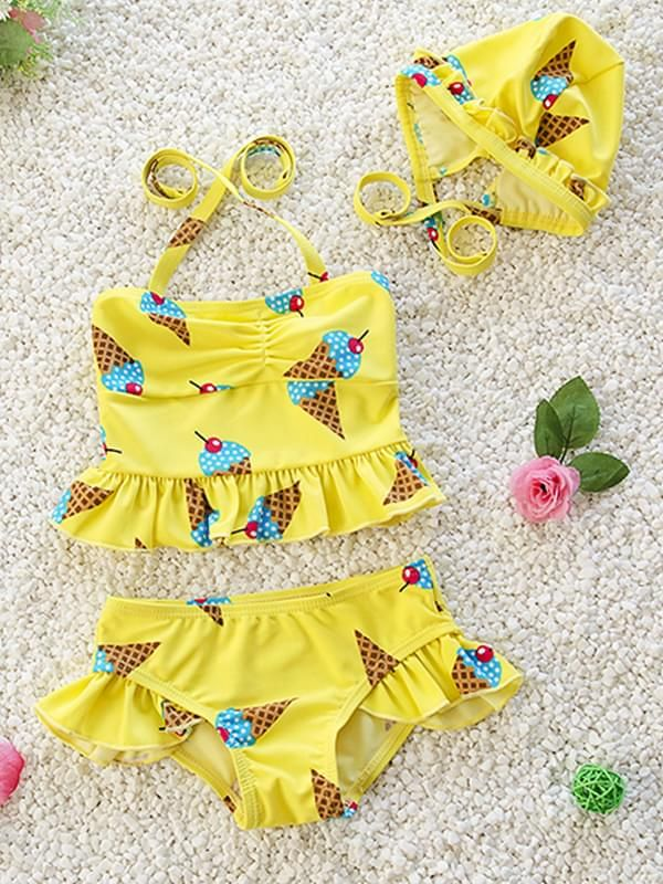 Ice Cream Printed 3 Piece Swimwear Set for Baby Girls