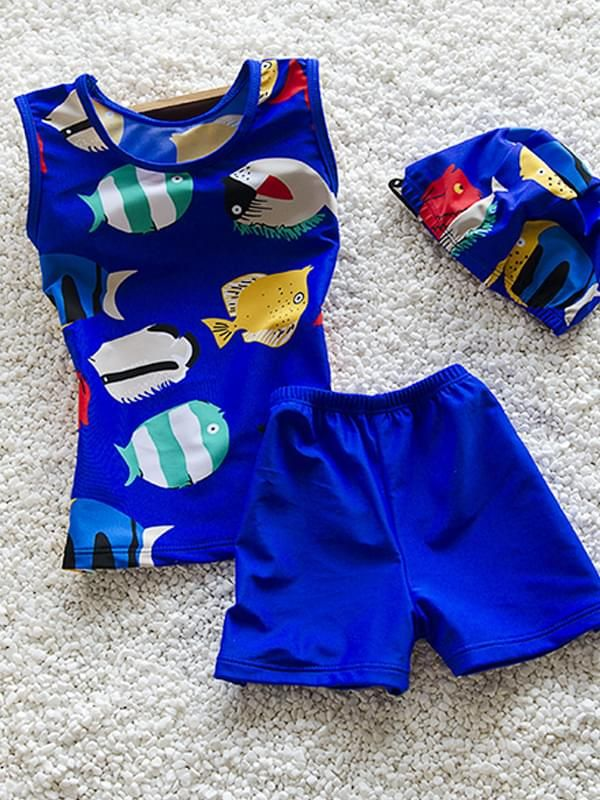 3 Piece Cartoon Fish Elastic Swimwear Set Top Shorts Hat for Toddler Boys