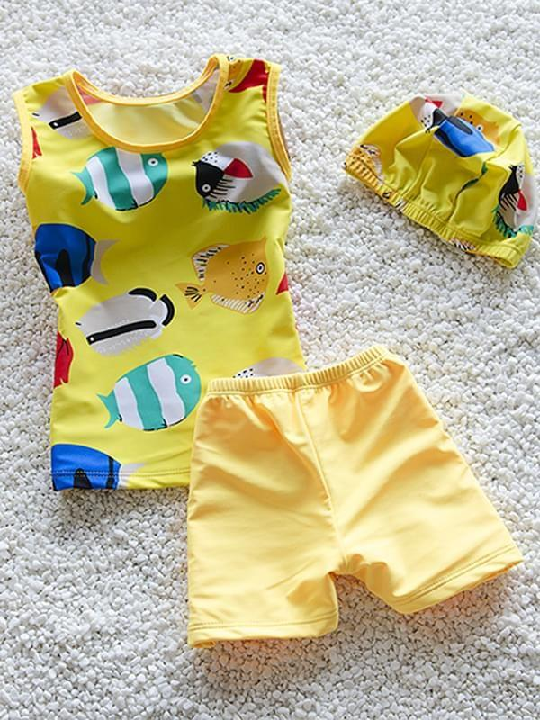 3-piece Cartoon Fish Elastic Swimwear Set Top Shorts Hat for Toddler Boys