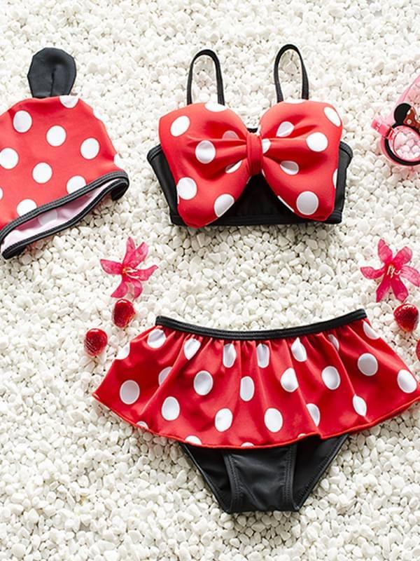 3 Piece Cute Spots Printed Swimwear Set for Baby Girls