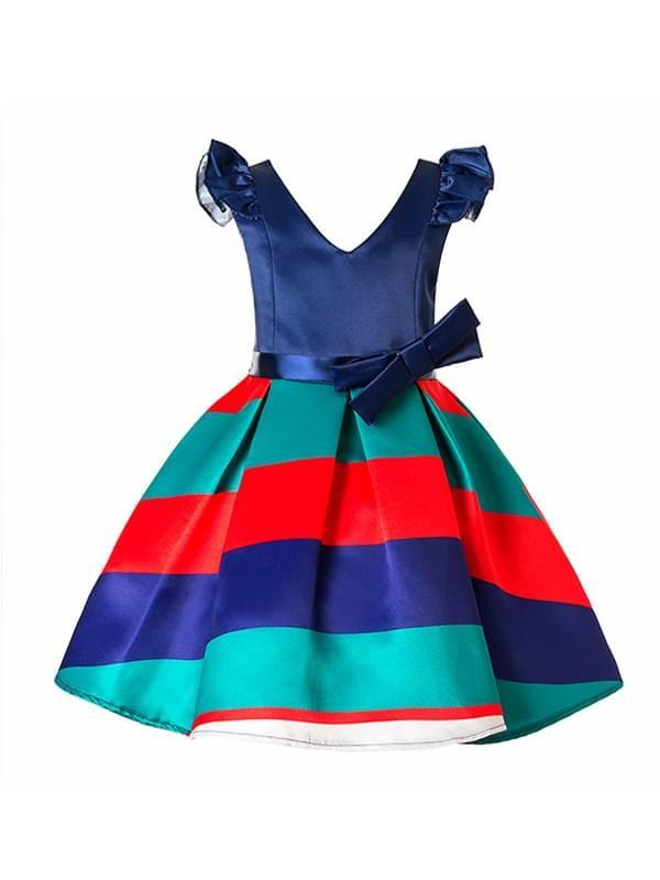 Block V-Neck Paneled Striped Color with Bow Knot Party Dress for Toddler Girls
