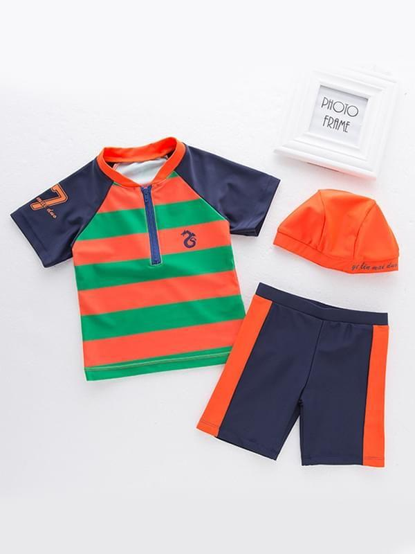 3-piece Color Block Swimwear Set Zip-up Tee Shorts Cap for Boys