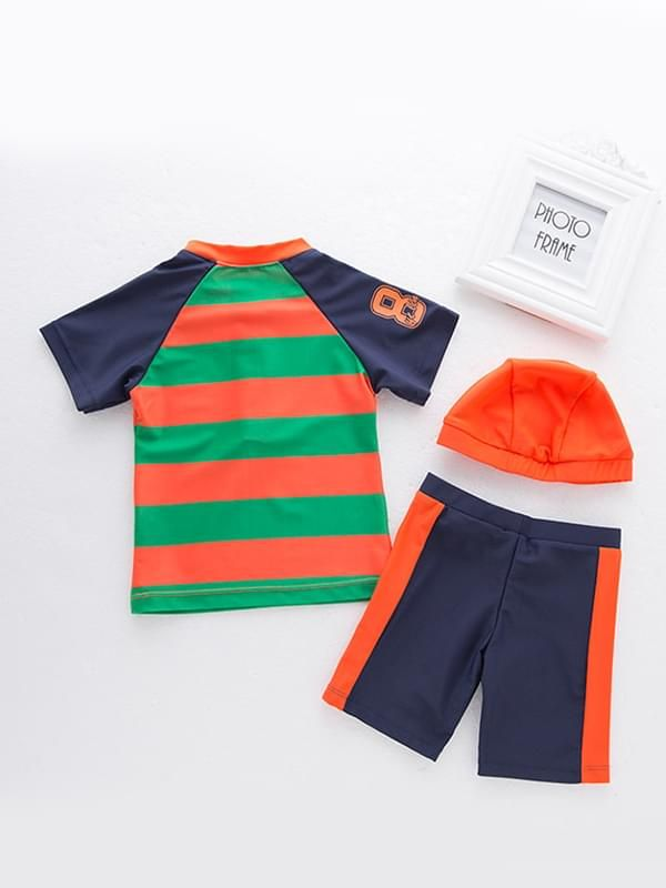 3 Piece Color Block Swimwear Set Zip-up Tee Shorts Cap for Boys
