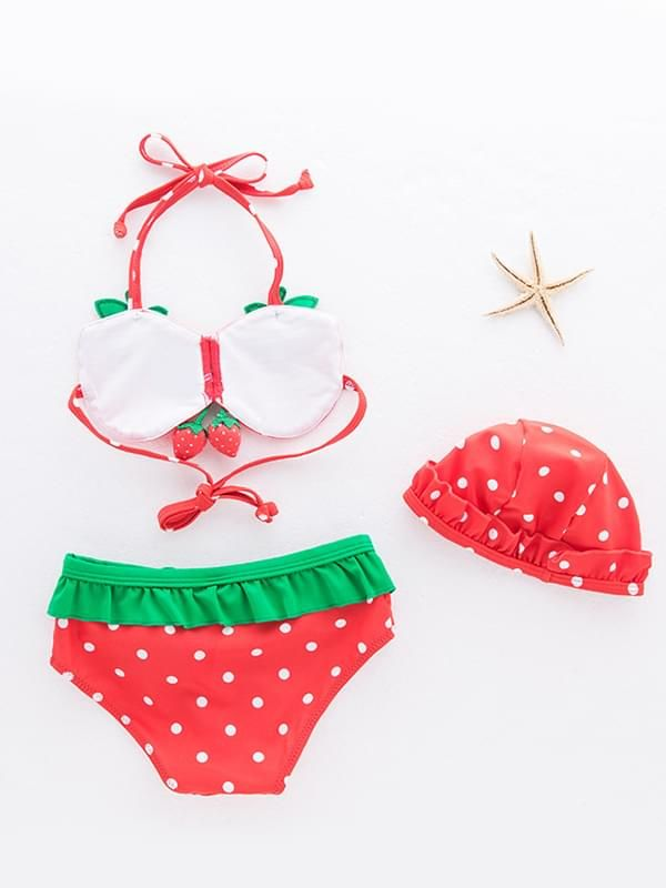 3 Piece Cute Strawberry Pattern Swimwear Bikini Set Halter Neck Top Shorts Hat for Toddler Girls