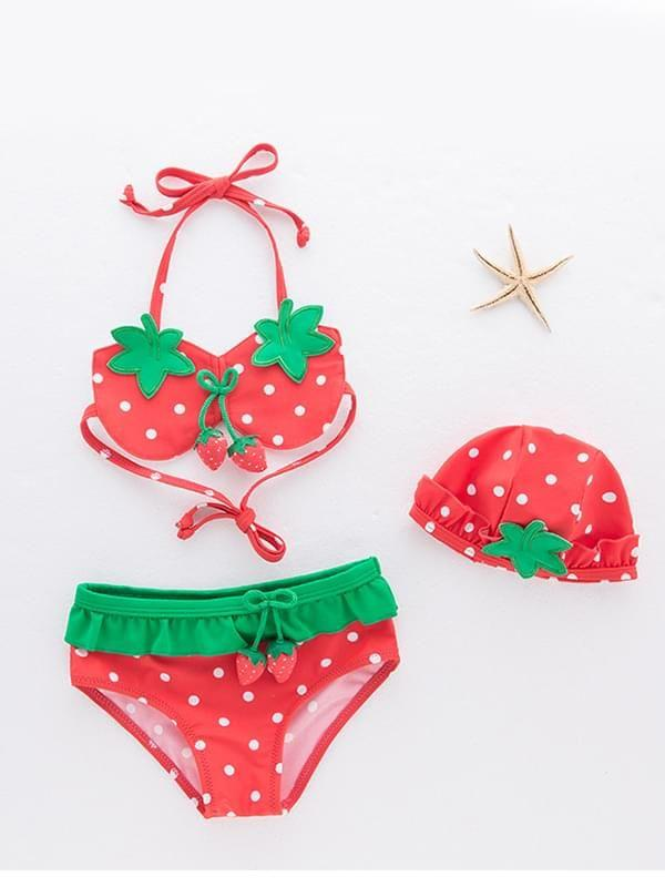3-piece Cute Strawberry Pattern Swimwear Bikini Set Halterneck Top Shorts Hat for Toddler Girls