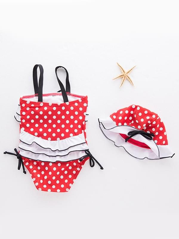 2 Piece Cute Red Dots Swimwear Set for Baby Girls