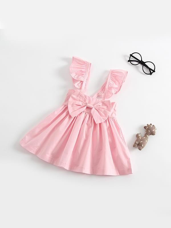 Sleeveless Solid Color Backless Bow Dress for Baby Girls