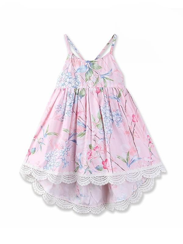 Pretty Flowers Printed Cotton Dress for Toddler Girls