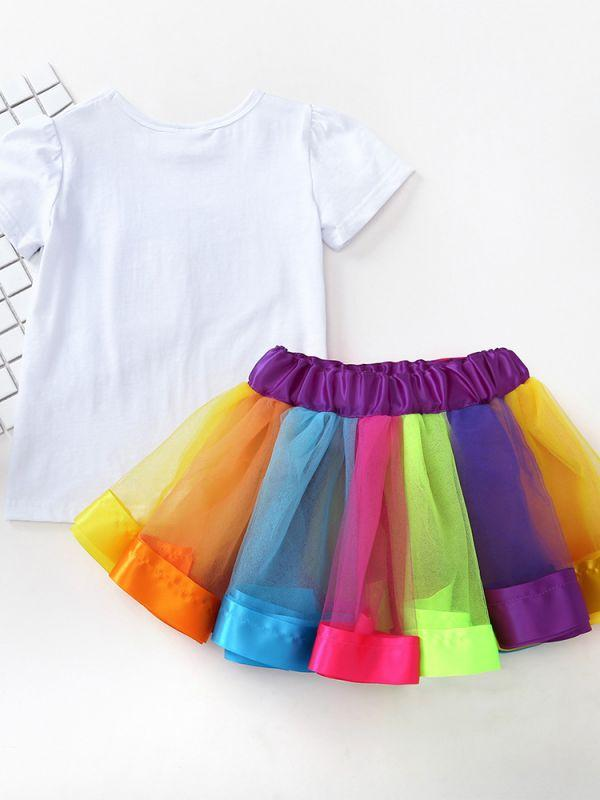 2-piece Tee Rainbow Tutu Skirt Set Tulle Short-sleeve Top Colorful Pettiskirt for Toddler Girls