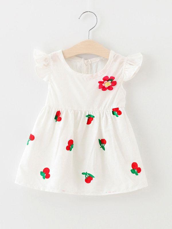 Cherry Print Sleeveless Dress for Baby Girls