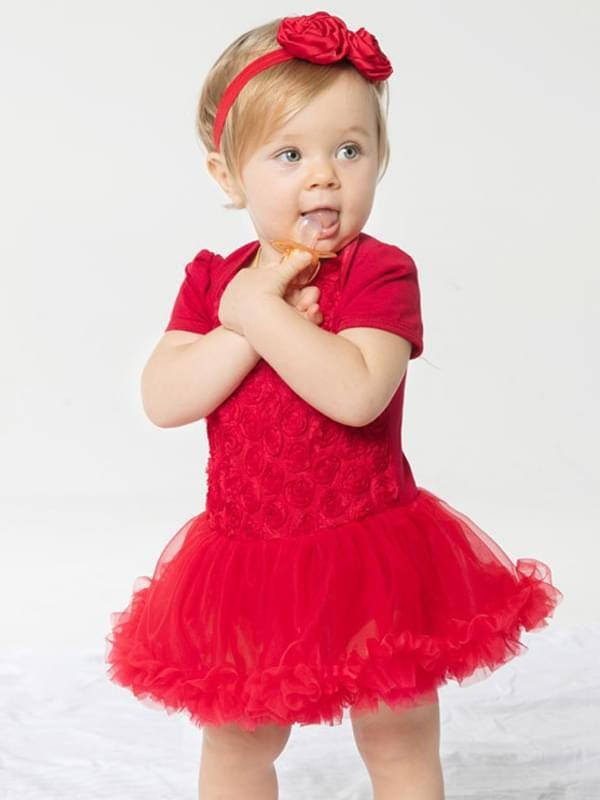 2-piece Roses Romper Tutu Dress Headband Set Short-Sleeve Cotton Tulle for Toddler Girls