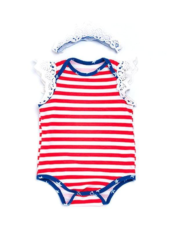 2 Piece Stripes Bodysuit & Headband Set for Baby Girls