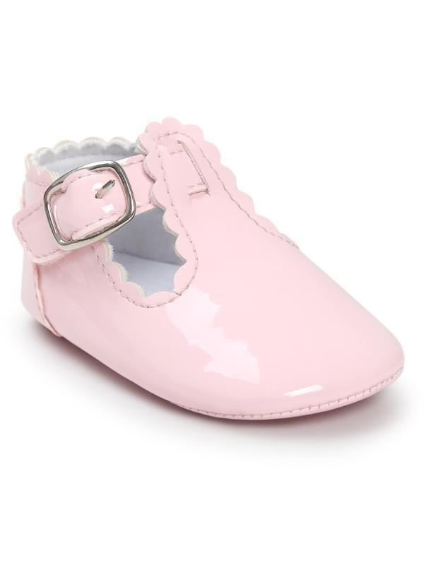 Cute Glossy Surface Antiskid Pre Walker Shoes for Baby Girls