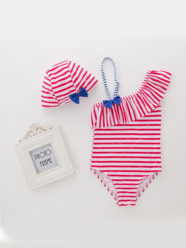 2-piece Skew Collar Striped Swimsuit Set  for Girls