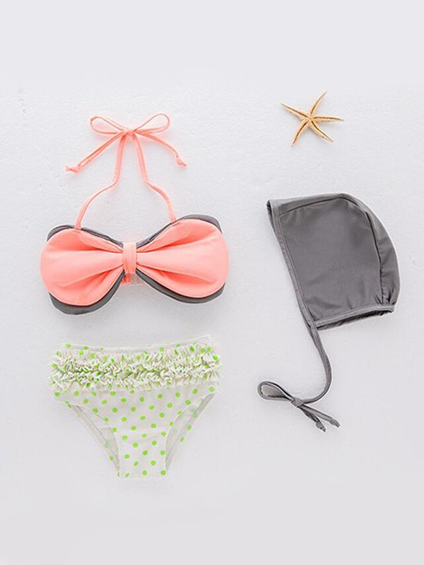 3-piece Big Bowknot Swimsuit Set for Girls