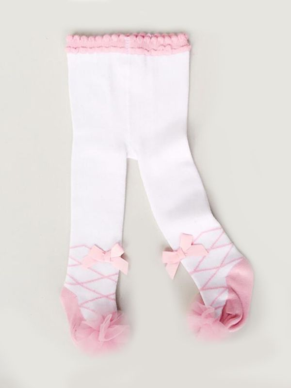 Ballet Pattern Pink Bowknot  Pantyhose for Toddler Girls