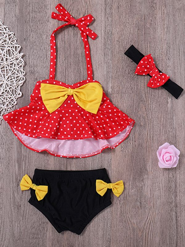 3-piece Bowknot Embellished  Swimsuit for Baby Girls