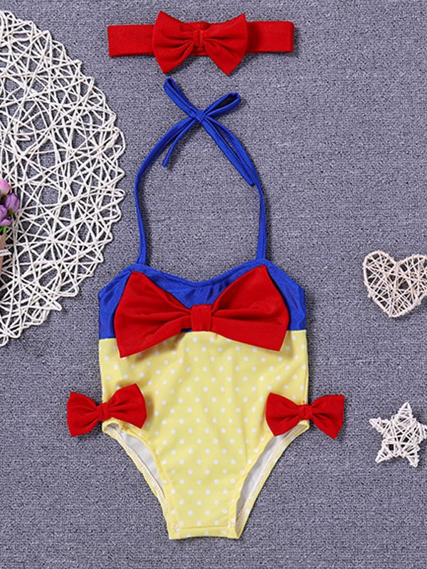 2-piece Red Bowknots Headband Baby Swimsuit for Baby Girls