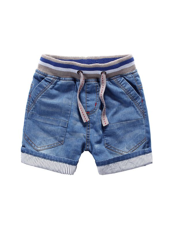 Soft Denim Shorts With Adjustable Belt for Boys