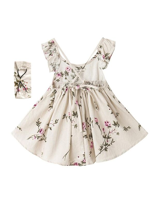 Floral Linen Dress Headband Set for Girls