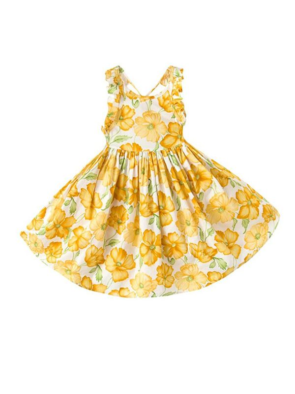 Floral Print Strapped Cotton Dress for Baby Girls