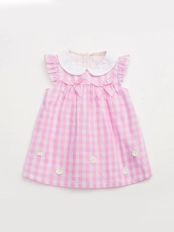 Flower Appliqued Gingham Girl Dress for Girls