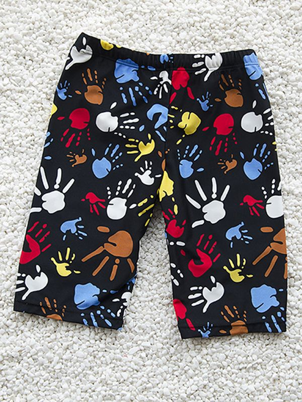 Cute Cartoon Hand Printed Swimming Trunks for Boys