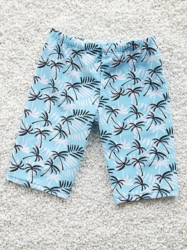 Cute Cartoon Tree Printed Swimming Trunks for Boys