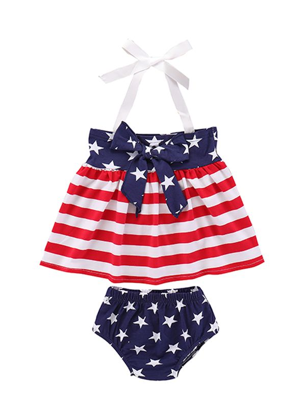4th Of July 2-piece Dress Set for Toddler Girls
