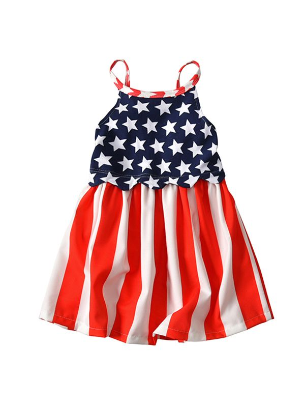 4th of July Stars Stripes Dress for Baby Girls