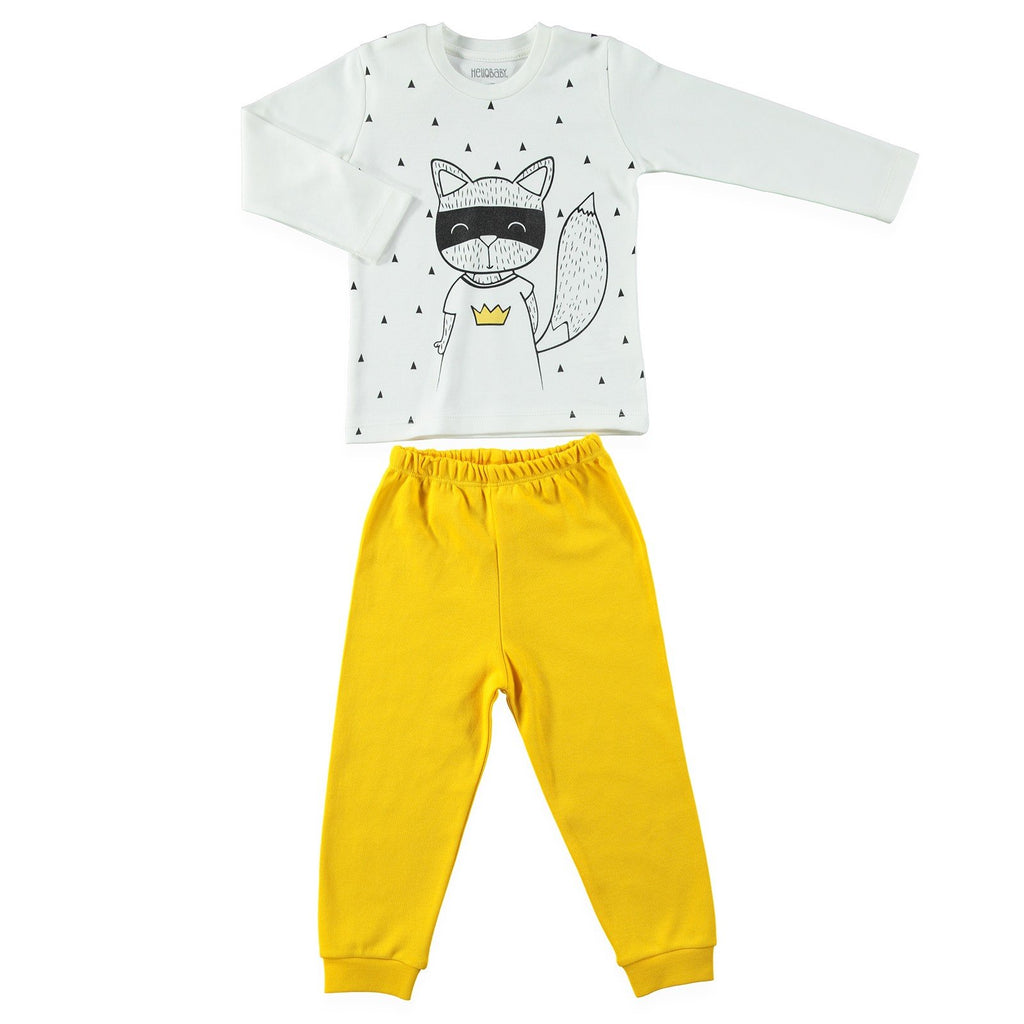 HelloBaby Fox with Mask Print 2 Piece Pajama Set for Toddler Boys