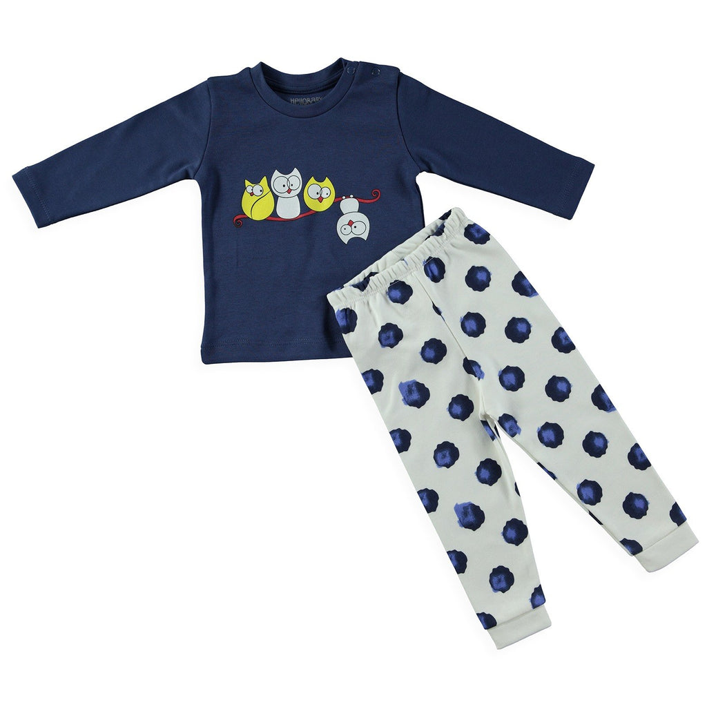 HelloBaby Birds on the Branch Print 2 Piece Pijama Set for Toddler Girls & Toddler Boys