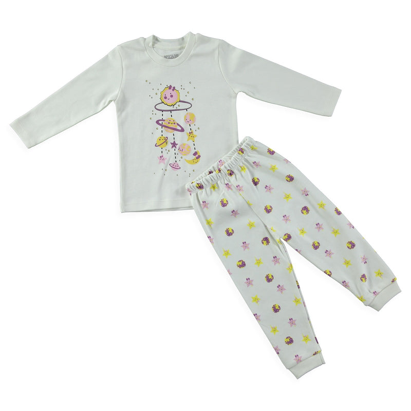 HelloBaby Solar System Print 2 Piece Pajama Set for Toddler Girls