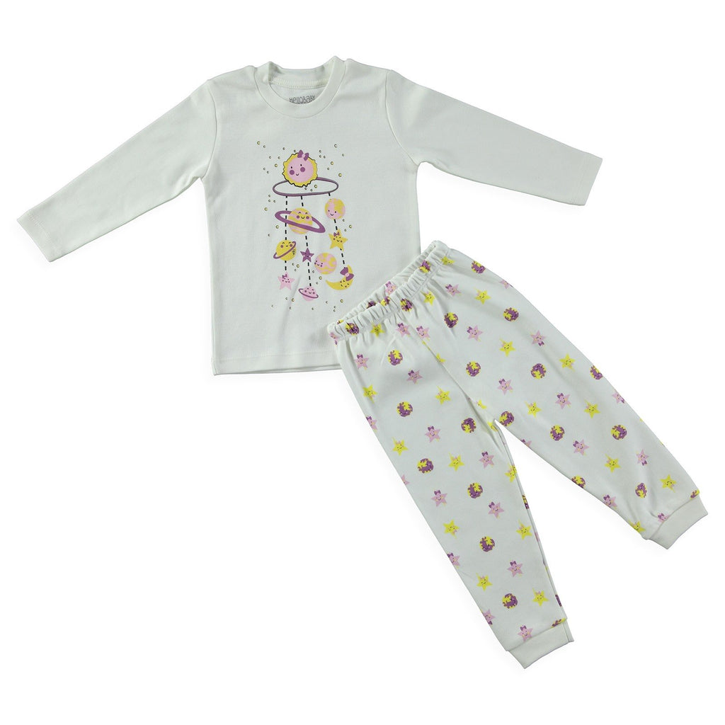 HelloBaby Solar System Print 2 Piece Pajama Set for Baby Girls